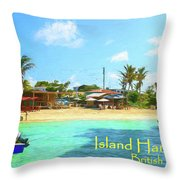 Post Card From Island Harbour Anguilla Throw Pillow by Ola Allen