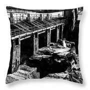 Post Falls Dam Black And White Throw Pillow