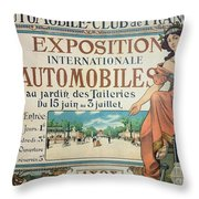 Poster Advertising The Exposition Internationale Automobiles At The Tuileries Gardens 1898 Throw Pillow