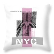Poster Art Nyc Brooklyn Bridge Details - Pink Throw Pillow
