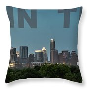 Poster Of Downtown Austin Skyline Over The Green Trees Throw Pillow