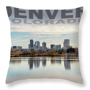 Poster Of Downtown Denver At Dusk Reflected On Water Throw Pillow