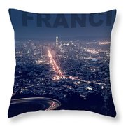 Poster Of Downtown San Francisco With Harbor On The Right Throw Pillow