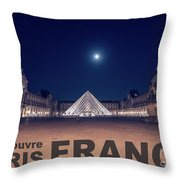 Poster Of  The Louvre Museum At Night With Moon Above The Pyrami Throw Pillow