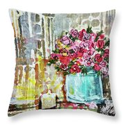 Potted Roses With Candle Throw Pillow
