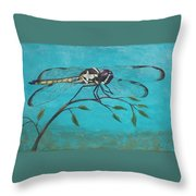 Praying Dragonfly Throw Pillow