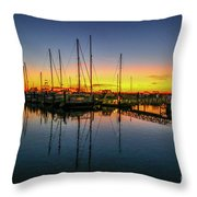 Pre-dawn Marina Colors Throw Pillow by Tom Claud
