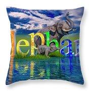Precious E Is For Elephant Throw Pillow