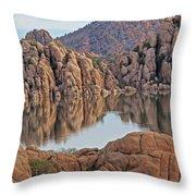 Prescott Arizona Watson Lake Hill Rcoks Water Sky Clouds 3 122019 4865 Throw Pillow