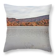 Prescott Arizona Watson Lake Hills Mountains Rocks Water Grasses Cloudy Sky 3142019 4920 Throw Pillow