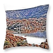 Prescott Arizona Watson Lake Rocks, Hills Water Sky Clouds 3122019 4867 Throw Pillow