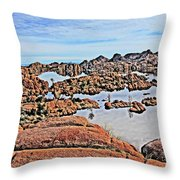 Prescott Arizona Watson Lake Rocks, Hills Water Sky Clouds 3122019 4870 Throw Pillow