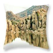 Prescott Arizona Watson Lake Water Mountains Lake Rocks Sky Reflections 4831 Throw Pillow