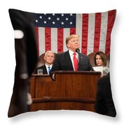 President Donald J. Trump Delivers His State Of The Union Address At The U.s. Capitol 2 Throw Pillow
