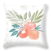 Pretty Coral Roses 2- Art By Linda Woods Throw Pillow