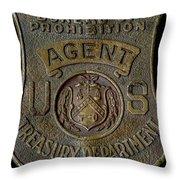 Prohibition Agent Badge Throw Pillow
