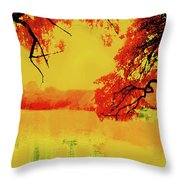 Psychedelic Lake Throw Pillow