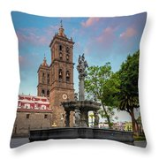 Puebla Zocalo And Cathedral Throw Pillow