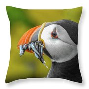 Puffin With A Mouthful Throw Pillow