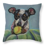 Puppy With Tennis Ball Throw Pillow