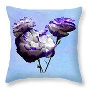 Purple And White Lisianthus Throw Pillow