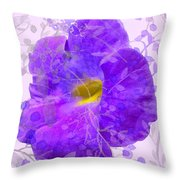 Purple Morning Glory With Pattern Throw Pillow