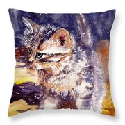 Pussy On A Yellow Blanket Throw Pillow
