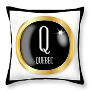 Q For Quebec Throw Pillow