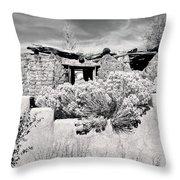 Rabbitbrush And Adobe Ruins In Sepia Throw Pillow