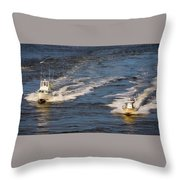 Racing To The Harbor Throw Pillow