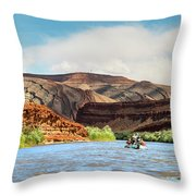 Rafting On The San Juan River Throw Pillow