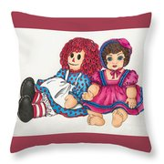 Raggedy Ann And Friend  Throw Pillow
