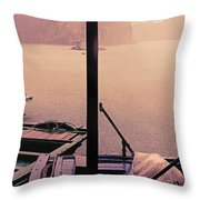 Rain Storm Ha Long Bay Boat People Homes Throw Pillow