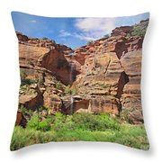 Rain Waterfall Off The Standstone Throw Pillow