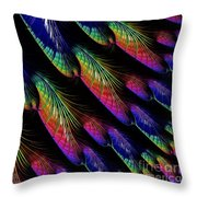 Rainbow Colored Peacock Tail Feathers Fractal Abstract Throw Pillow by Rose Santuci-Sofranko