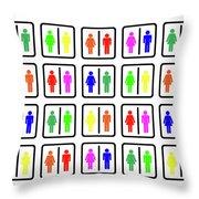 Rainbow Gender Men Women Study Throw Pillow
