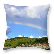 Rainbow Over Buck Island Lighthouse Throw Pillow