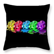 Rainbow Painted Cats Throw Pillow