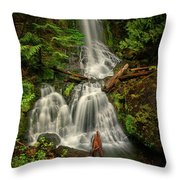 Rainier Falls Creek Falls Throw Pillow