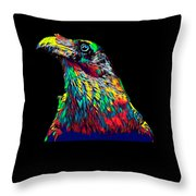 Raven Head Weird Bird Lucky Vintage Design Throw Pillow