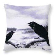 Ravens In Winter Throw Pillow