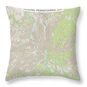 Reading Pennsylvania Us City Street Map Throw Pillow