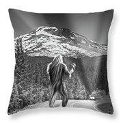 Rear View Of A Sasquatch Hitchhiking Throw Pillow