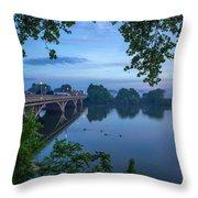 Receding Fog On The River Throw Pillow