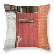 Red Alley Door Chinatown Washington Dc Throw Pillow by Edward Fielding
