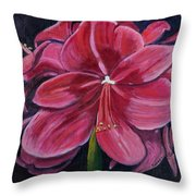 Red Amaryllis  Throw Pillow