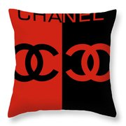 Red And Black Chanel Throw Pillow