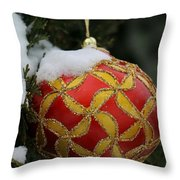 Red And Gold Ornament Throw Pillow