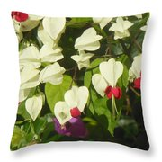 Red And White Surprise 2 Throw Pillow