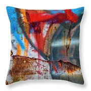 Red Blue Graffiti Abstract Square 2 Throw Pillow
